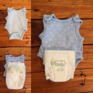 Pampers P3 and size 0 nappy in comparison to preemie 3lb vest