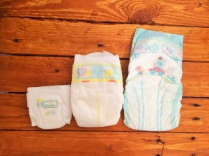 Comparison of Pampers nappies in sizes P3, 0 and 4.